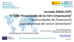 2018 jornada taller financiacion oportunidades financiacion alimentario